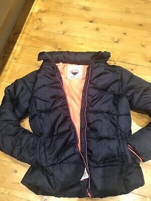 Next Girls Navy Wadded Coat With Bright Pink Lining, Ex Cond, Age 11-12