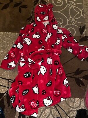 M&S Girls Hello Kitty Pink Dressing Gown Age 7-8 Years, Excellent Condition