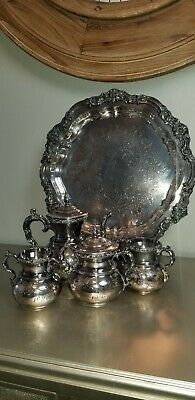 American Silverplate CO 5 PC coffee Set W/ FB Rogers Silver Co Footed Tray 7734