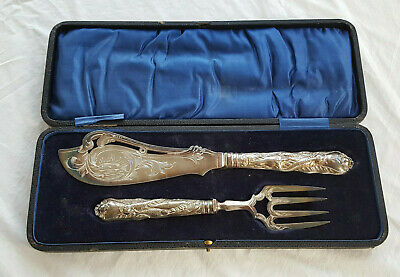 Antique Silver Plated Knife and Fork Seafood Fish Serving Set with Case Ornate