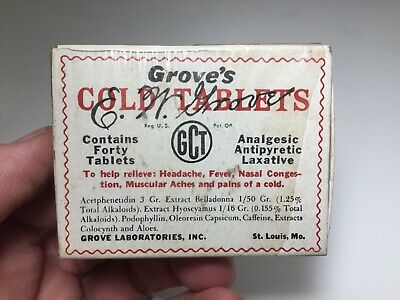Vintage Grove's Cold Tablets Advertising Medicine Box With Contents