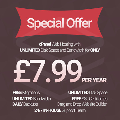 1 Year Unlimited SSD Website Web Hosting, cPanel based with free SSL's + support