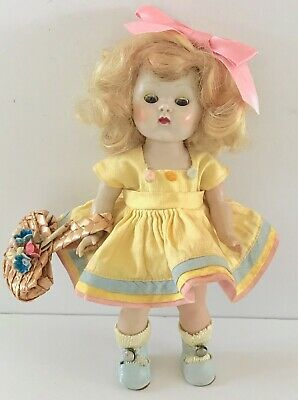 Vintage 1953 Original Vogue Strung Ginny Doll in Tagged Dress & Oilcloth Shoes
