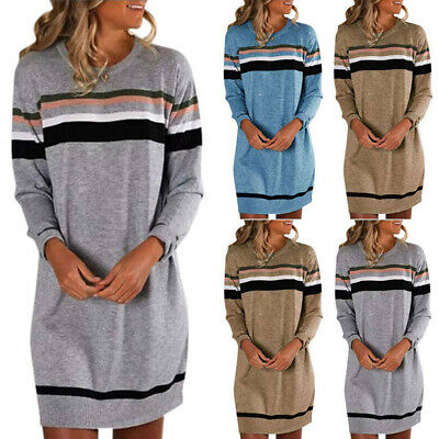 Womens Striped Sweater Jumper Dress Winter Long Pullover Tops Plus Size LadiesSE