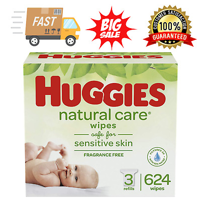 HUGGIES Natural Care Unscented Baby Wipes, Sensitive, 3 Refill Packs 624 count