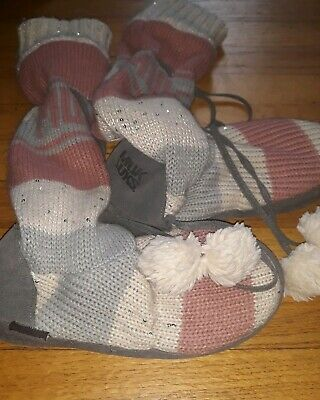Muk Luks Sweater Boots Pink/Gray/White Size S 6/7 with Pom Poms