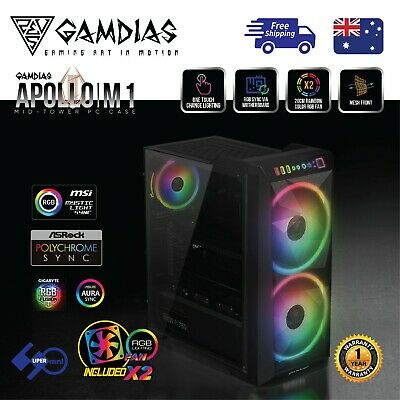 Computer Case Gamdias APOLLO M1 Mid Tower Tempered Glass with 2x 200mm ARGB Fan