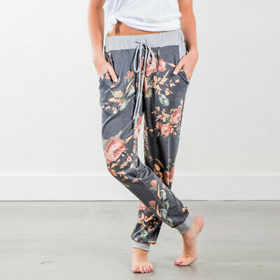 Printed Casual Floral Trousers Girls Leg Waist Ladies Women Exercise Jogger Top