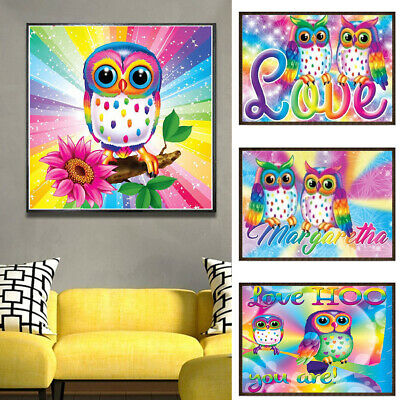 AU_ Colorful Owl 5D Full Diamond Painting Embroidery Cross Craft Stitch Art Kit