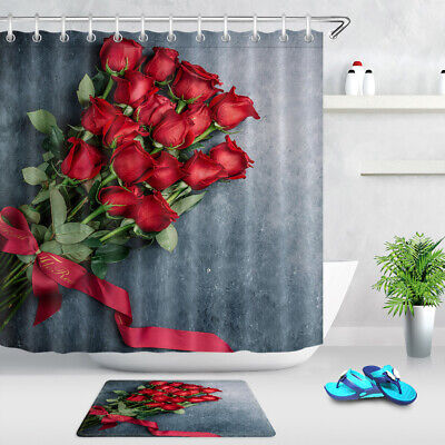 Tricolor red rose Shower Curtain Bathroom Decor Fabric /& 12hooks 71x71inches