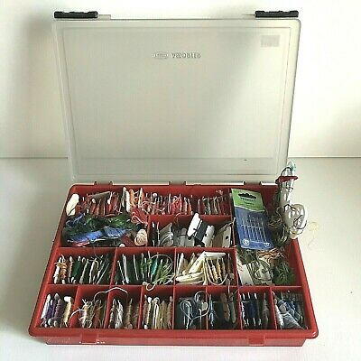 Joblot Embroidery Threads Various Colours Needles & Compartment Case Job Lot