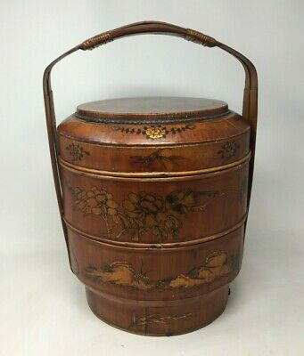 VTG Antique Asian Chinese 3 Tier Wedding Basket Hand Made Crafted Decorated Wood