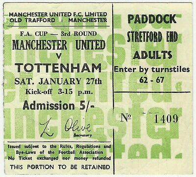MANCHESTER UNITED v TOTTENHAM HOTSPUR FA CUP 1967/68 JANUARY 1968 MATCH TICKET