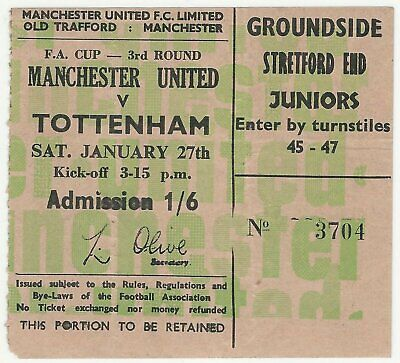 MANCHESTER UNITED v TOTTENHAM HOTSPUR FA CUP 1967/68 JANUARY 1968 MATCH TICKET 2