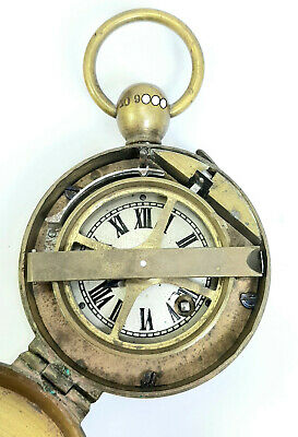 Rare Burk 19thC Brass Night Watchman's Clock With Original leather case/holder