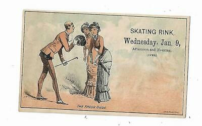 Old Trade Card Skating Rink Dr Purdy Scientific Fancy Skating Fresh Dude Monocle
