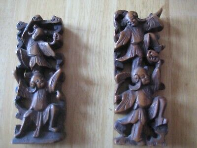 Chinese/oriental vintage/antique wooden small carvings of dancers