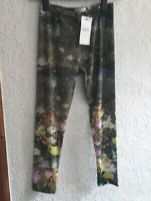 Bnwt M&S Girls Age 10-11 Years Green Mix Floral Leggings