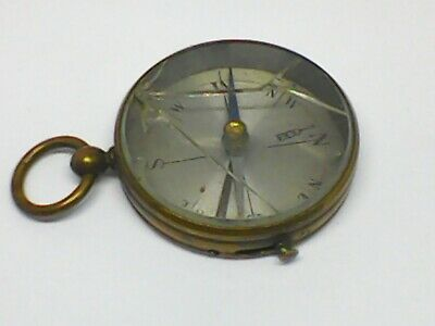 Vintage Old French Made Brass Pocket Compass / Needs Glass