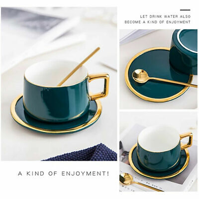 3 Piece Tea Coffee Cup Set With Spoon And Saucer Tray Ceramic Tea Mug Gift Set