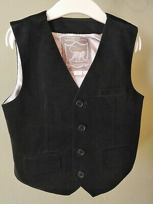 Monsoon Notting Hill W11 Boys Black Velvet Waistcoat,Age 5,Immaculate