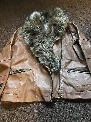 Girls Tan And Fur Fake Leather Jacket From River Island