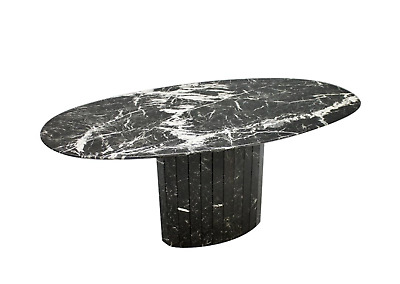 Black Oval Marble Dining Table, Italy, 70s 70er Marmor Tisch