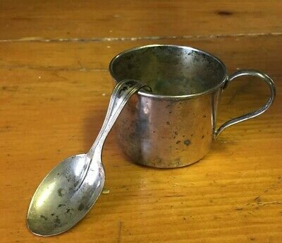 Vintage Silver Plate Infant Cup And Spoon As Found