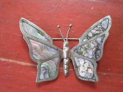 Vintage Mexico Taxco Sterling Silver Abalone Butterfly Pin Brooch