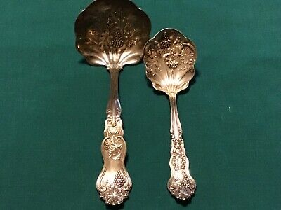Antique Silver Ladle and Spoon: Grapevine Emboseed Design