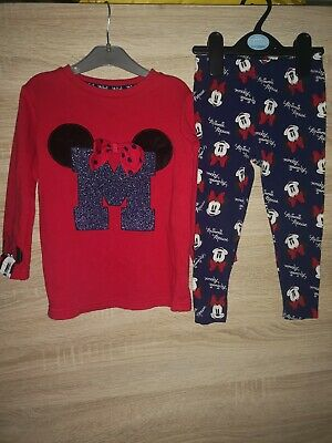 Disney Girls Minnie Mouse Outfit Jumper And Leggings Size 18-24 Months 11/2-2