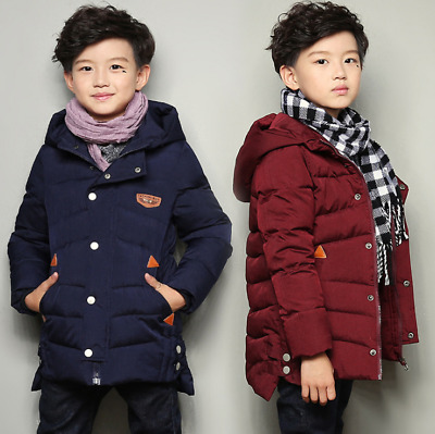 Kids Boys Winter Jacket School Trendy Parka Hooded Warm Quilted Puffer Coat 4-12