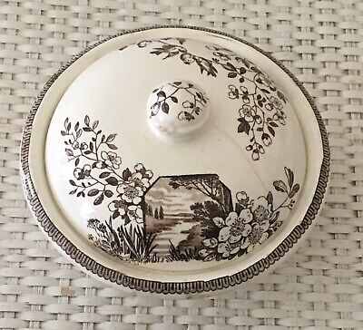 Antique 3pc SOAP DISH Aesthetic BROWN TRANSFERWARE Ironstone Staffordshire