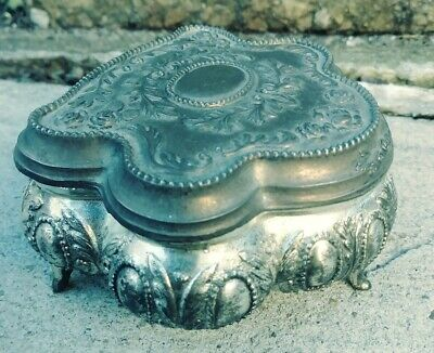 "Vtg Ornate 5"" Silverplate Footed Jewelry Trinket Box Casket w/ Hinged Lid~Japan"