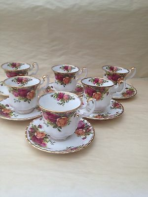 ROYAL ALBERT OLD COUNTRY ROSE COFFEE CUPS AND SAUCERS X 6 First Quality