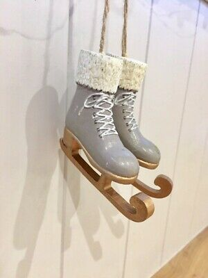 Pair of White Fluffy Ice Skates Boots Hanging Christmas Tree Decoration XM1024