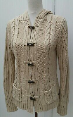 Next Maternity Ladies Size 12 Beige Hoodie Cardigan Cable Knit Winter Fashion