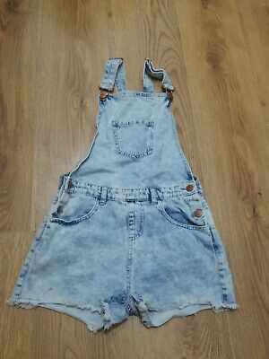 Girls denim playsuit/jumpsuit/dungarees. Acid wash/shorts. Age 11-12 years