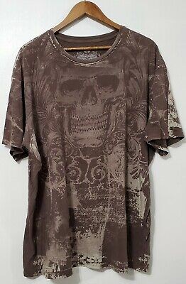 Mens Archaic Skull by Affliction Brown Short Sleeve T-Shirt XXL