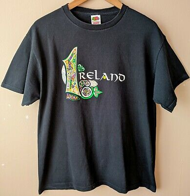 90s Vintage Ireland T-shirt M Souvenir Novelty Black Irish
