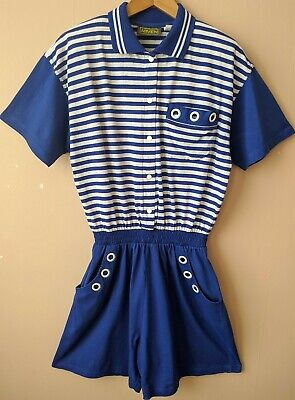 90s Vintage Playsuit Romper M 14-16 Blue White Stripey Jumpsuit Sailor Nautical