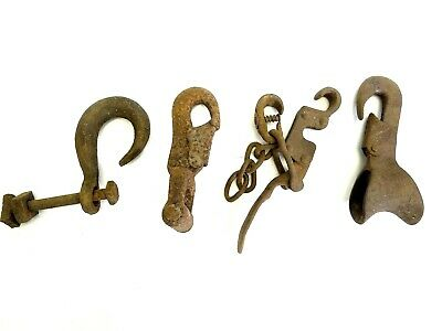 Antique Lot Old Brown Wrought Iron Industrial Hay Hooks Machinery Lighting Parts