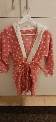 Girls Pink Hooded Polka Dot Sheep Dressing Gown Age 12/13yrs