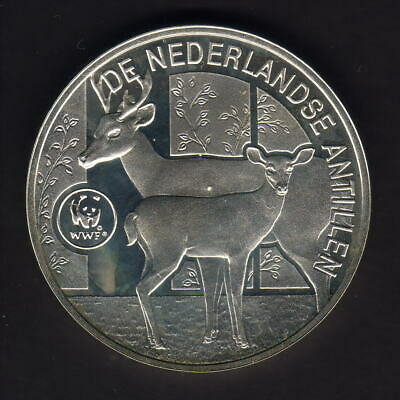Netherlands Antilles. 1998 25 Gulden.. WWF - Deer..  Proof