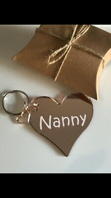 Rose Gold Mirror Acrylic Keyring. Heart.Valentines Gift.Personalised.Gift Boxed