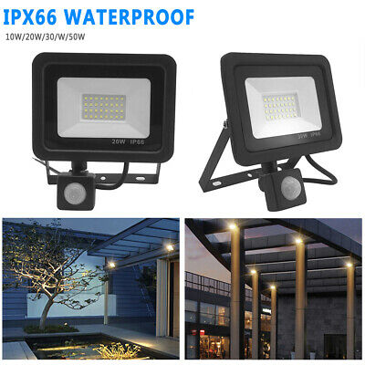 Outdoor Security Light Flood LED with PIR Motion Sensor Floodlight 10/20/30/50W
