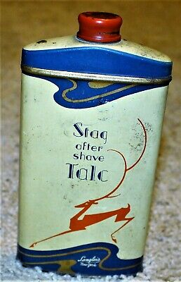 Vintage Stag After Shave Talc Tin / Great Graphics / Langlois New York