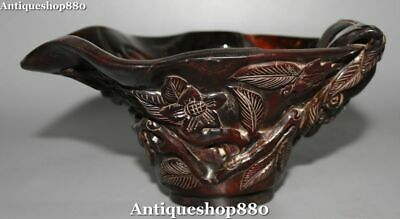 Collect Curio Chinese Ox Horn Dynasty Folk Flower Pot Wine Cup Wineglass Goblet