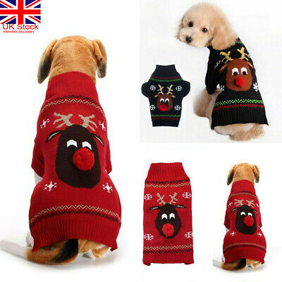 Dog Sweater Reindeer Christmas Small Large Xmas Pet Puppy Cat Jumper Clothes 2XL