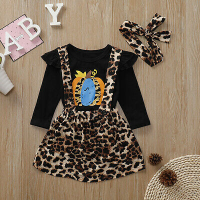 Toddler Kids Baby Girl Leopard Clothes T-shirt Tops Dress Legging Pants Outfits